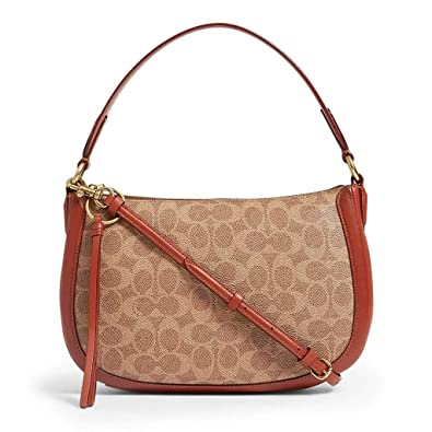 8d4c9511b344 Image Unavailable. Image not available for. Color: COACH Women's Coated Canvas  Signatures Sutton Crossbody Tan/Rust/Brass ...