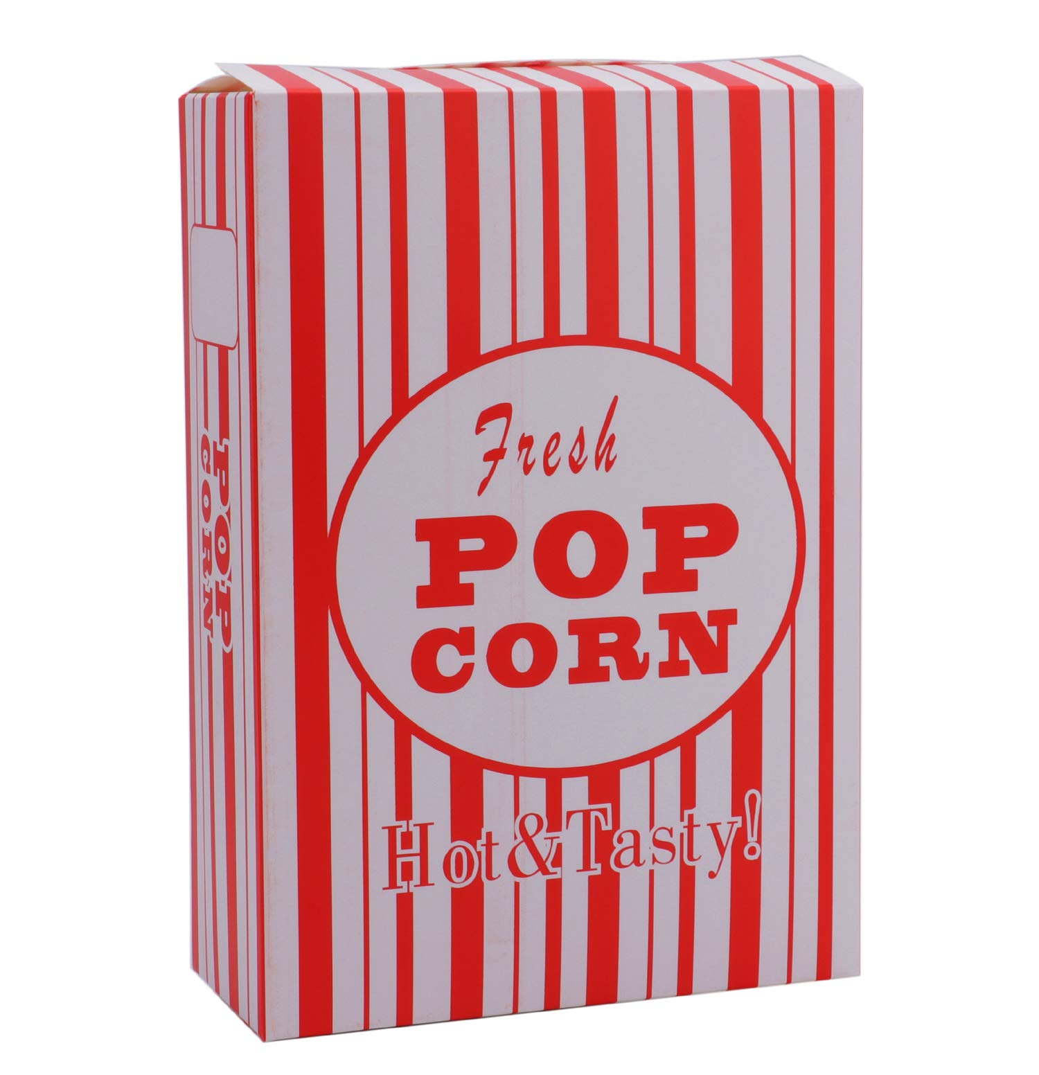 Bekith 100/Case Close-Top Popcorn Box, Red and White Stripes Classic Design by Bekith