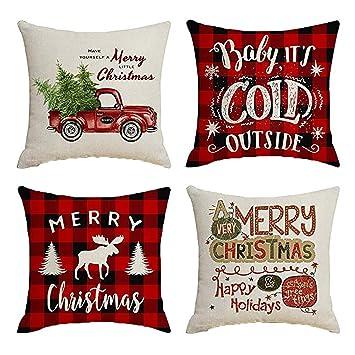 Goosuny 4er Pack Kissenbezug 45x45 Cm Weihnachten Dekoration Kissen Bezug Weihnachtskissen Kissenhülle Home Decor Sofakissen Couchkissen Sofa
