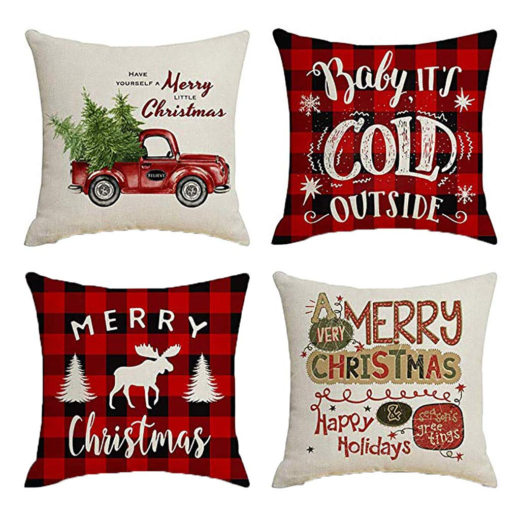 Clearance! Christmas Pillowcases, Christmas Deer Linen Cushion Cover Pillow Case Sofa Bed Home Decoration Festival Pillow Case Cushion Cover (4Pcs F)
