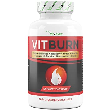 VITBURN - Abnehmen - Hochdosiert - Vegan - Mit Citrus Aurantium + Güner Tee Extrakt + Raspberry Ketone + Koffein + Mate-Tee +