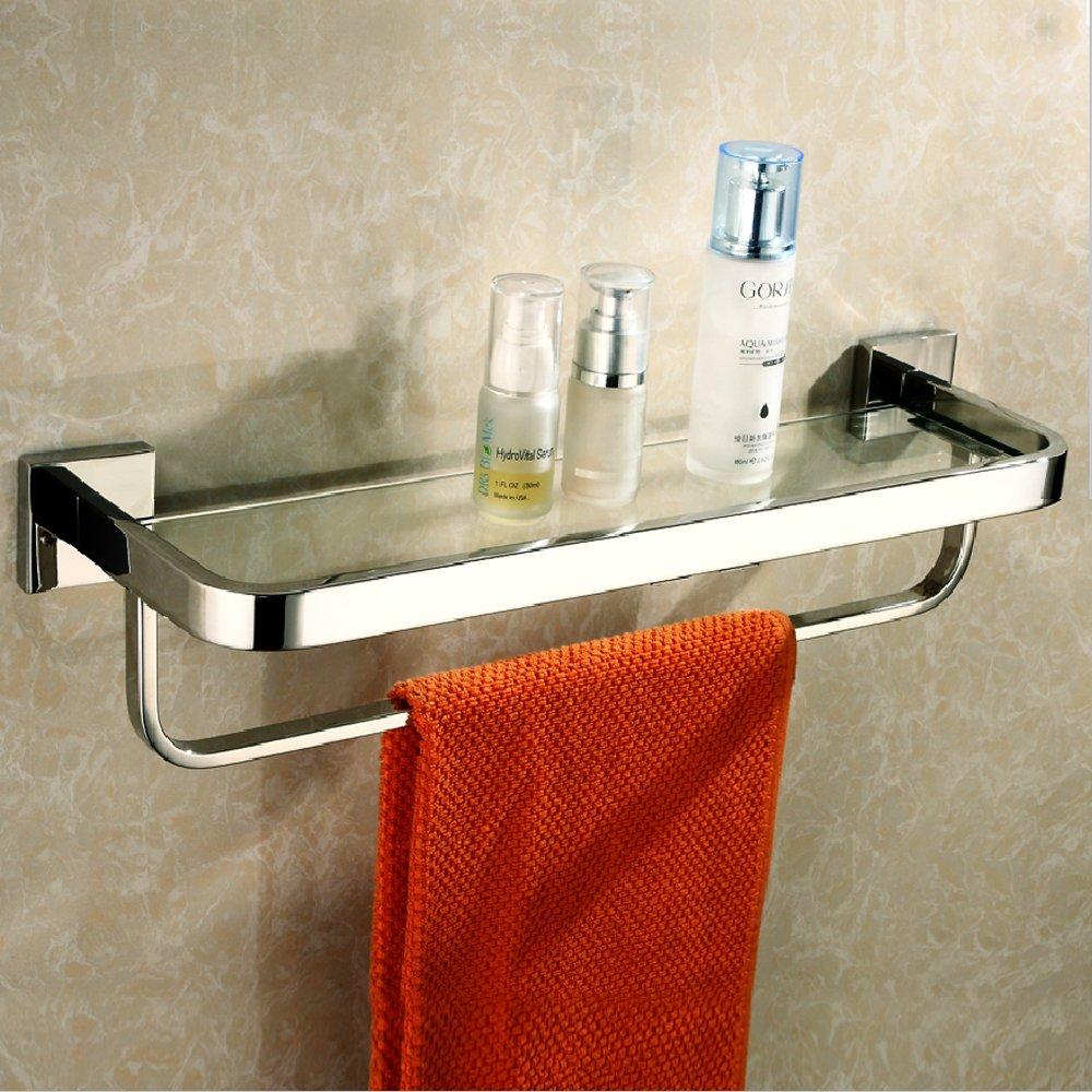 KES A2621 バスルーム 洗面所 強化ガラス棚 タオルバー付き 壁取付、光沢ステンレス、シルバー 並行輸入品 B00OPMH0QQ  研磨仕上げ w/ Towel Bar