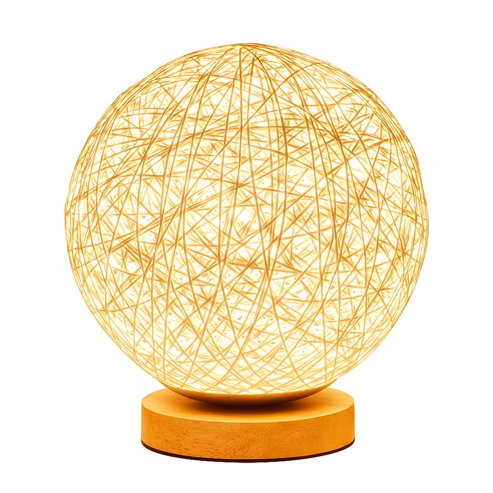 KNONEW For Rattan Ball Style Energy Saving Night Light Lampshade Home Dining Decoration Lamps Bedside Lamp LED For Bedroom Gift. (white)