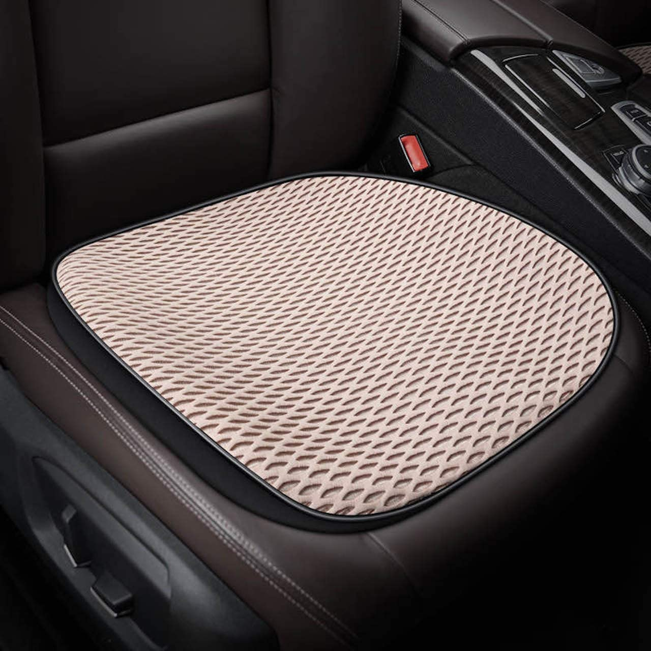 Eaglet Cooling Car Seat Cushion, Multi-Use Universal Seat Cushion with Breathable 3D Stereo Mesh Cover, Cooling Gel, Anti-Slip Backing, Ice Pad for Support in Car, Office, Home, and Outdoor (Beige)