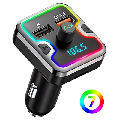 Bluetooth FM Transmitter for Car, Comsoon 7 Colors LED Backlit Bluetooth Car Adapter, Bluetooth Receiver Car Kit with Hands-Free Calling, QC3.0 Car Charger, Support USB Disk, microSD Card (Black): MP3 Players & Accessories