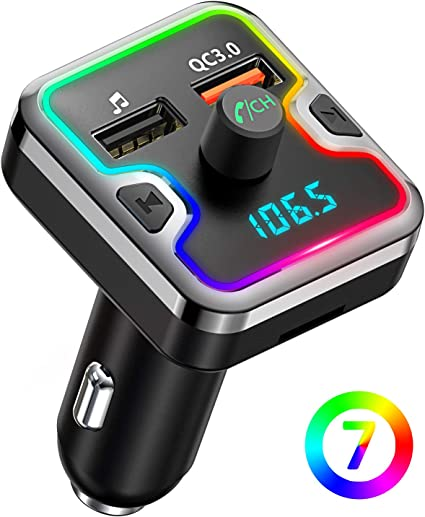 QC3.0 Car Charger Support USB Disk Comsoon 7 Colors LED Backlit Bluetooth Car Adapter Bluetooth FM Transmitter for Car Bluetooth Receiver Car Kit with Hands-Free Calling microSD Card Black