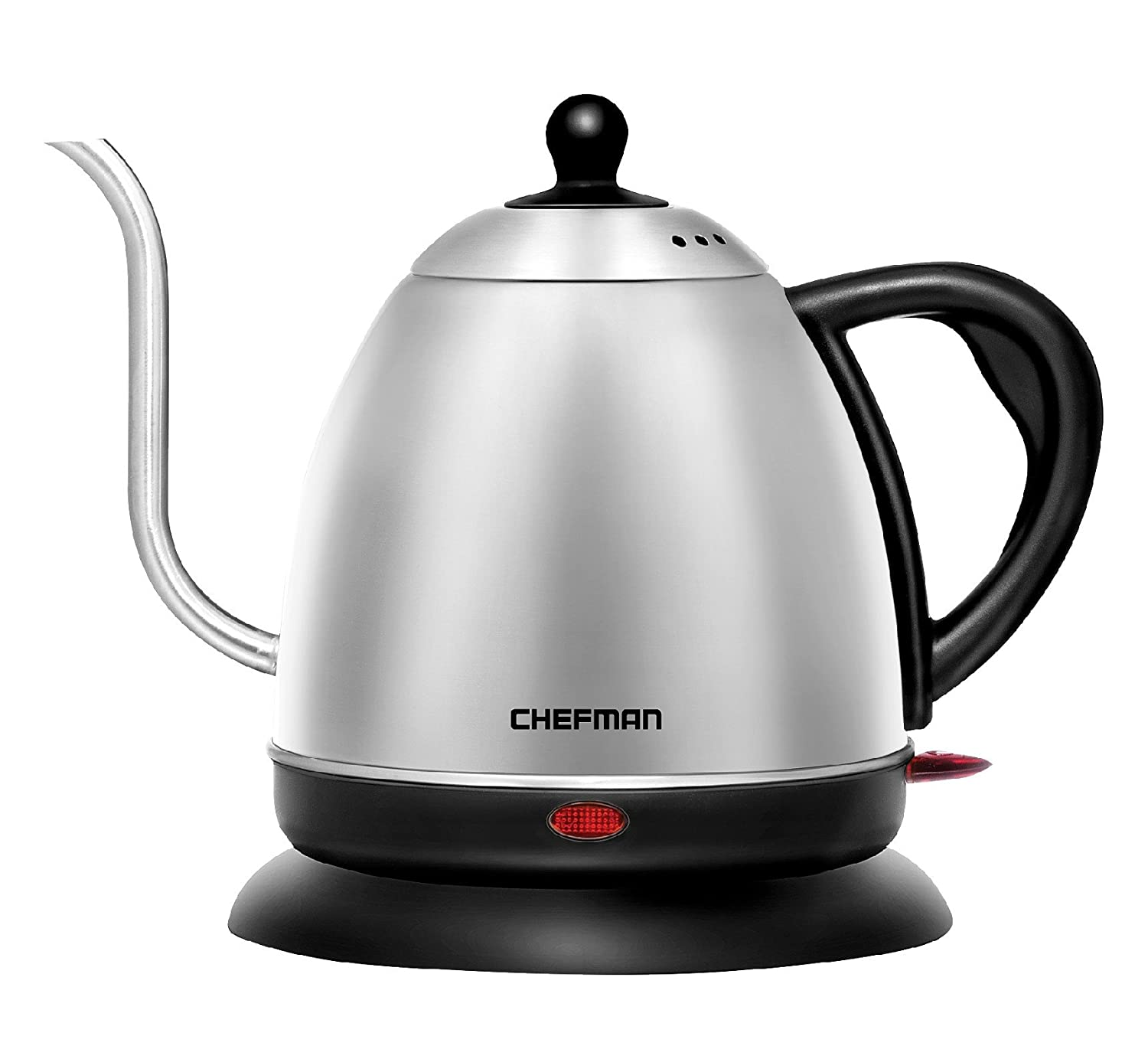 Chefman Electric Kettle,Gooseneck Pour Over Style Water Boiler, 360 Degree Cordless Rotating, Rapid Boil & Strix Control - Stainless Steel, 1 Liter RJ11-GN