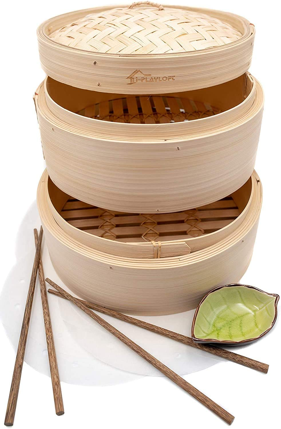 Premium 8 Inch Handmade Bamboo Steamer - Two Tier Baskets - Dim Sum Dumpling & Bao Bun Chinese Food Steamers - Steam Baskets For Rice, Vegetables, Meat & Fish Included 2 Sets Chopsticks, 20 Liners & Sauce Dish