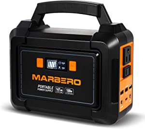 MARBERO 167Wh Portable Power Station, 45000mAh Solar Generators Lithium Battery Power Supply with 110V AC Outlet, 2 DC Ports, 4 USB Ports, LED Flashlights for CPAP Home Camping Emergency Backup