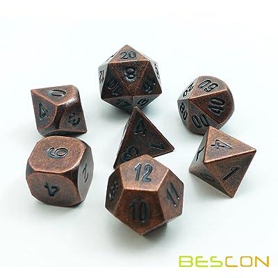 Bescon Cuivre Antique solide en métal Polyédrique dés D & D Lot de 7Vieux cuivre Métal RPG rôle jouer Jeu dés Lot de 7