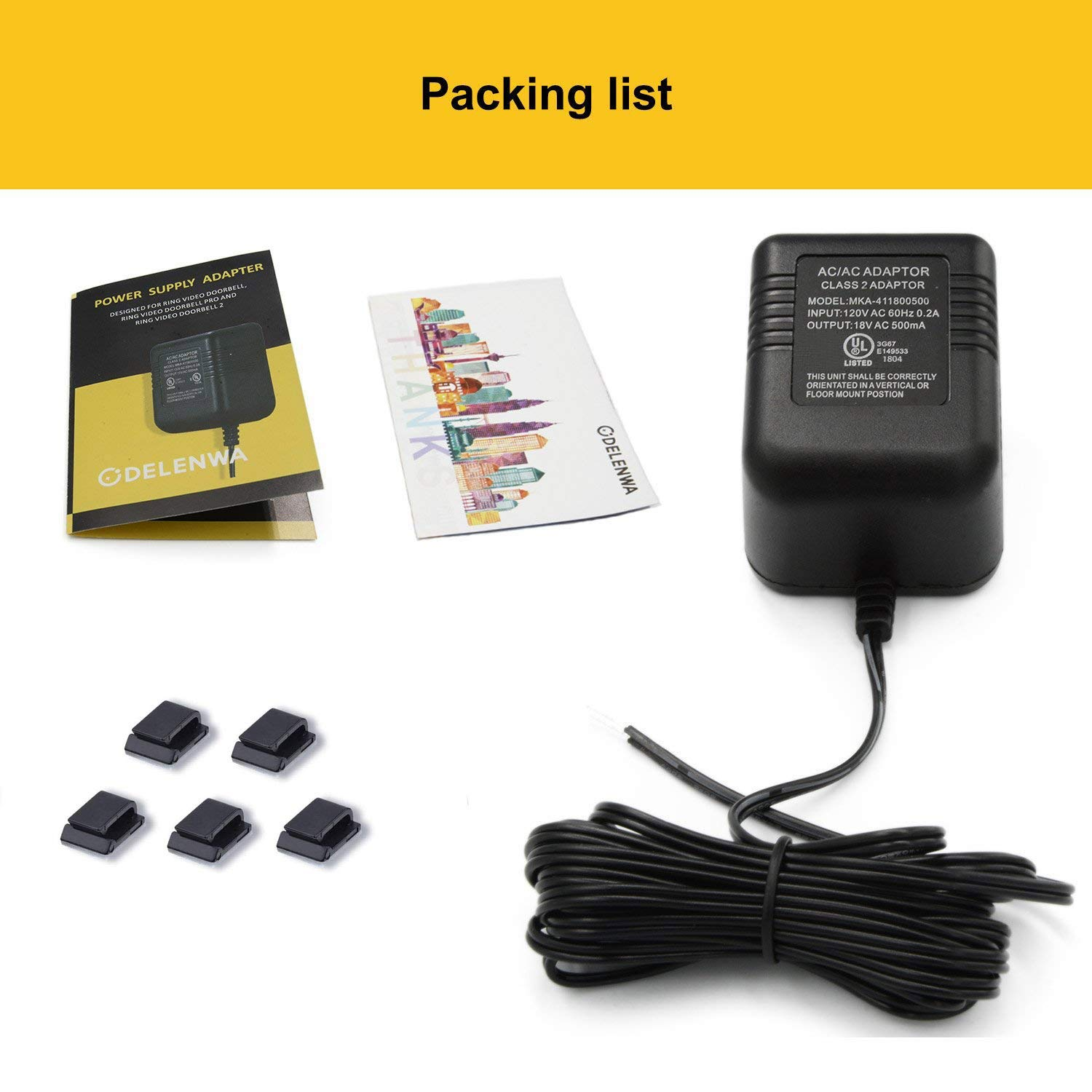 Power Adapter for RING Doorbell, UL Certificated Power Supply for RING Video Doorbell, RING Video Doorbell 2 & RING Video Doorbell Pro Battery Charger by ODELENWA (Image #7)