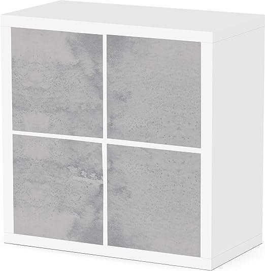 Debe Kallax - Juego de 4 cajas de almacenamiento Kallax, aspecto de hormigón, diseño por ambos lados, caja para Kallax, plegable, caja para Kallax, ...