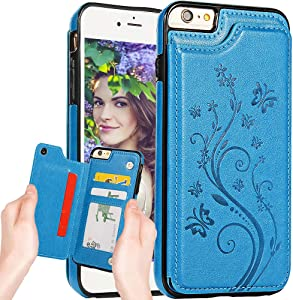 iPhone 6S Plus Wallet Case for Women,iPhone 6Plus Case with Card Holder,Auker Fold Stand Butterfly Flower Embossed Sleek Leather Flip Magnetic Secure Fit Slim Wallet Purse Case w/Cash Pocket
