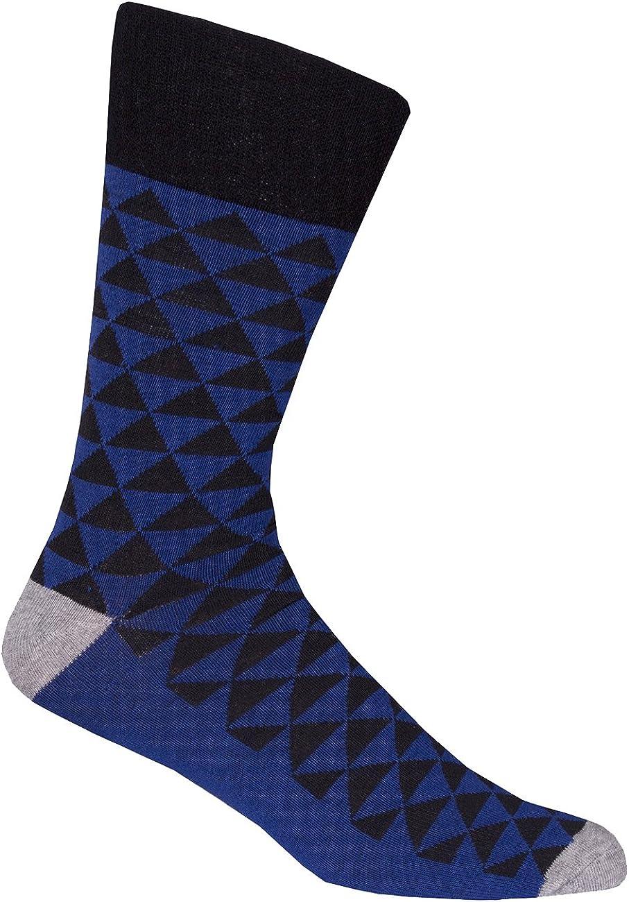 6 Pairs Mens Comfy Non Elasticated Cotton Rich Socks diamond Top Knit