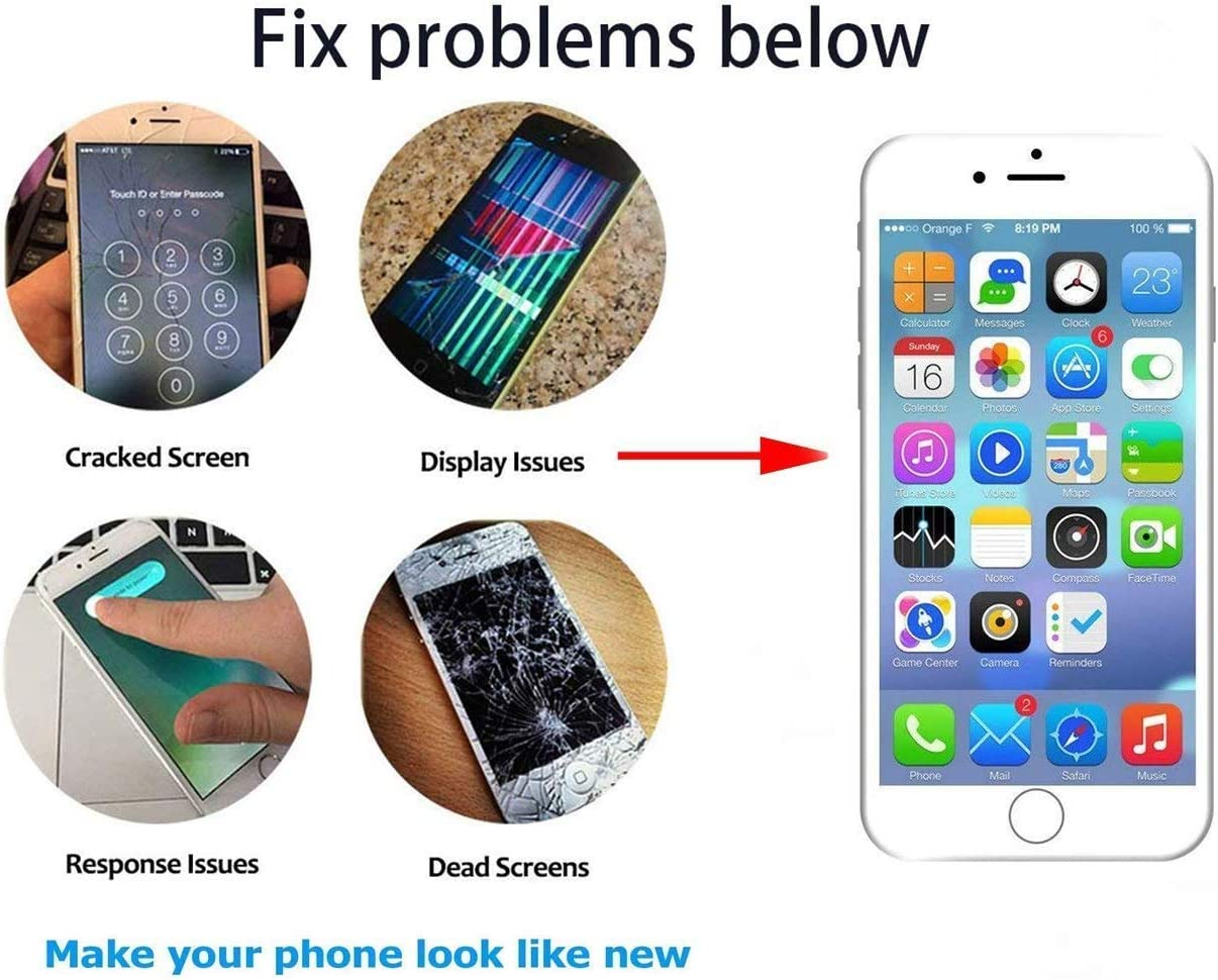 5.5 FFtopu Compatible with iPhone 6 Plus Screen Replacement Black,LCD Display with 3D Touch Screen Digitizer Full Assembly+Home Botton+Front Camera+Earpiece+Free Screen Protector+Repair Tools Kit