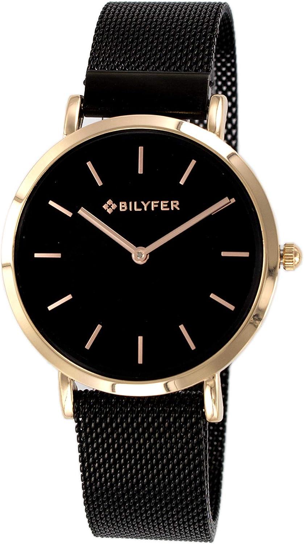 Reloj Bilyfer para Mujer con Correa Negra y Pantalla en Negro 3P556-N