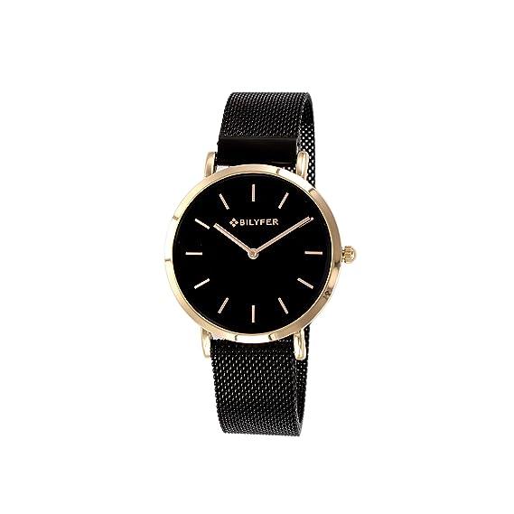 Reloj Bilyfer para Mujer con Correa Negra y Pantalla en Negro 3P556-N: Amazon.es: Relojes