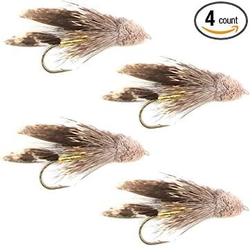 Choice of Sizes Trout Flies 12 Pack of Yellow Olive /& Black Muddler Minnows