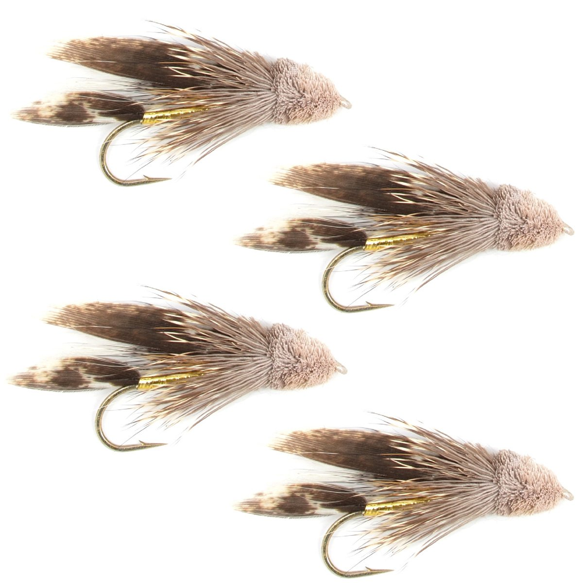 The Fly Fishing Place Muddler Minnow Fly Fishing Flies - Classic Bass and Trout Streamers - Set of 4 Flies Hook Size 4