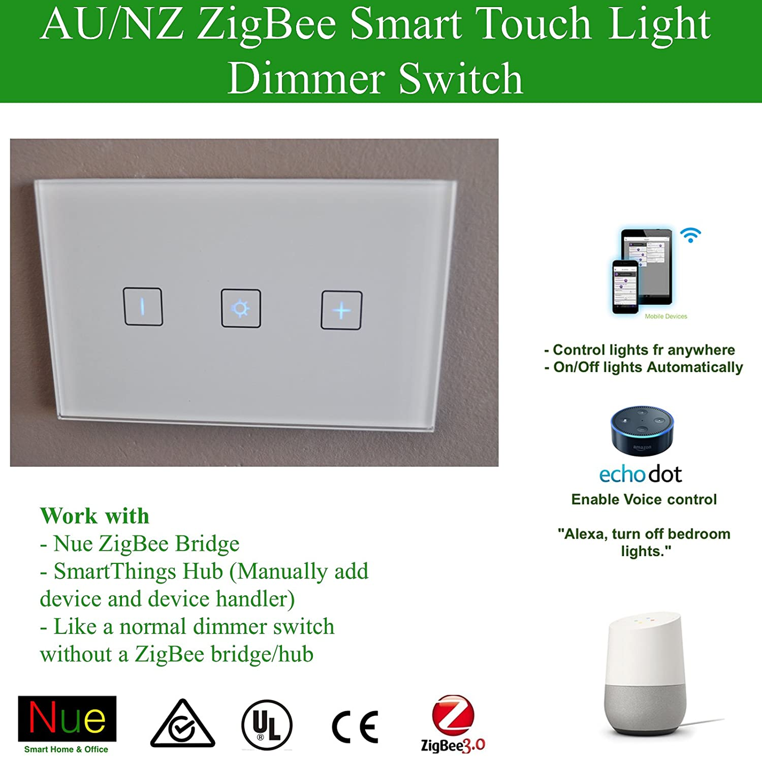 Smart ZigBee Light/Fans Dimmer AU/NZ Approved Switch for Wireless ...