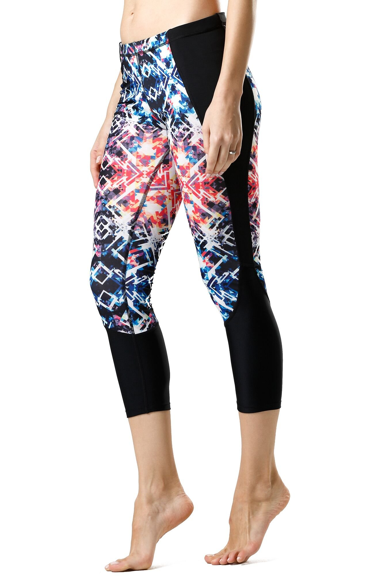 8b2498e60a4b5 Galleon - Icyzone Capri Yoga Pants Athletic Leggings Workout Clothes  Fitness Tights For Women (S, Prismatic)