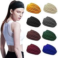 8 Stks Sport Hoofdbanden voor Vrouwen, Yoga Katoen Haarband Elastische Workout Zweetbanden Non-Slip Brede Hoofd Wraps…