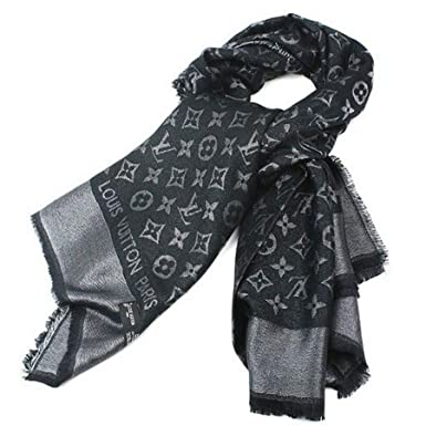 c436c6e0b241e Designer Inspired Monogram Denim Shawl in Black Scarf -Wrap Imitation  Designer Replica Luxurious High End