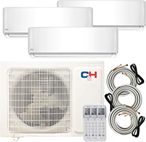 COOPER AND HUNTER Multi Zone Tri 3 Zone 9000 12000 12000 Ductless Mini Split Air Conditioner Heat Pump Full Set WiFi Ready