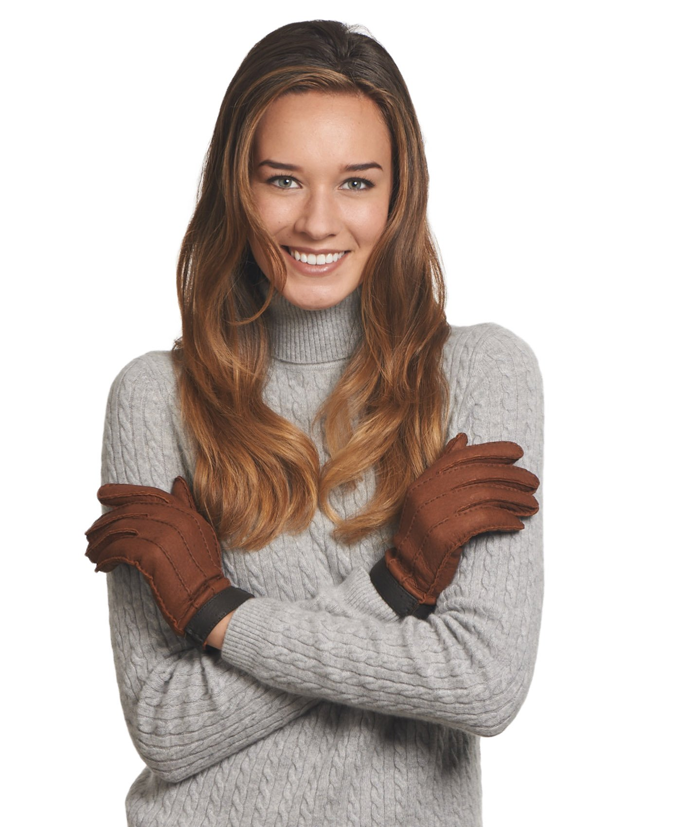 Fratelli Orsini Women's Italian Cashmere Lined Peccary Gloves Size 7 1/2 Color Cork by Fratelli Orsini (Image #4)