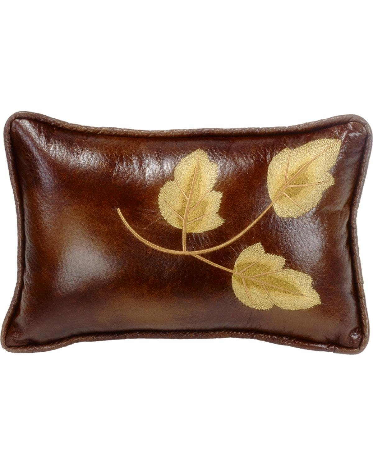HiEnd Accents LG1860P5 Highland Lodge Embroidery Leaf Pillow, 12x19