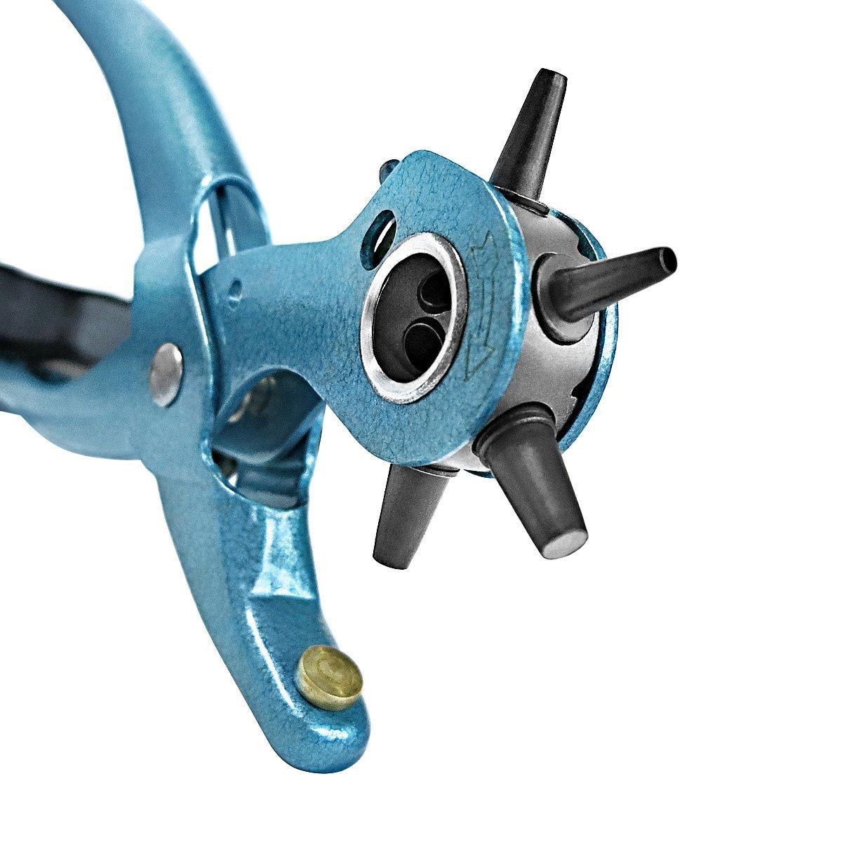 S&R Pince Perforatrice pour Cuir Cintures Bracelets / FABRICATION ALLEMANDE / Pince Emporte Piece avec 6 Poinç ons : 2 - 2, 5 - 3 - 3, 5 - 4 - 4, 5 mm. S&R Industriewerkzeuge GmbH