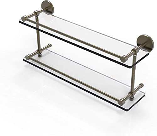 Allied Brass P1000-2 22-GAL-ABR 22 Inch Tempered Double Gallery Rail Glass Shelf, Antique Brass