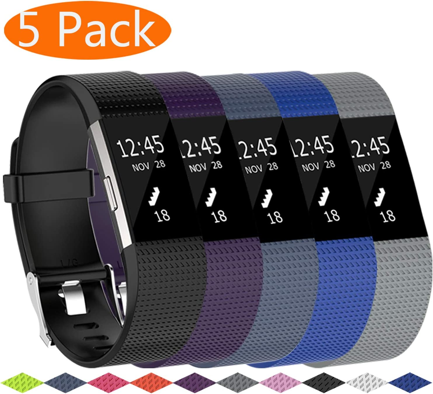 Metal Buckle Fitness Wristband KingAcc Compatible Fitbit Charge 2 Bands Soft Silicone Replacement Band for Fitbit Charge 2 Large Small 3-Pack Sport Strap for Women Men
