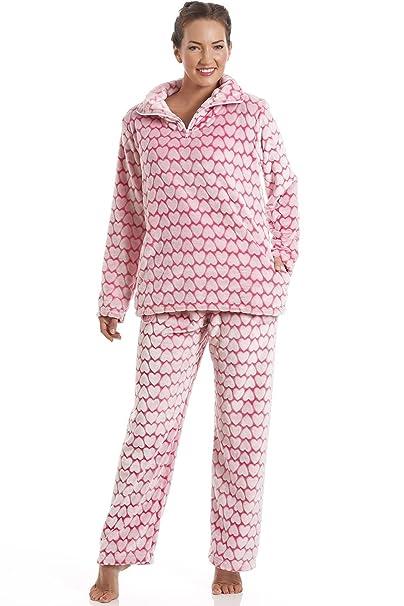 Conjunto de pijama - Forro polar suave - Estampado de corazones blancos y rosas 38/