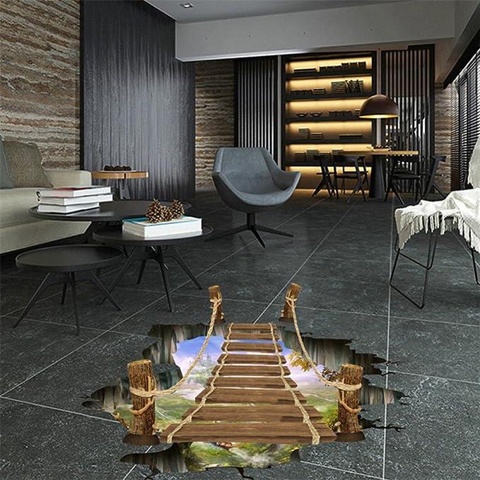 3D Bridge Floor Wall Sticker Removable Mural Decals Vinyl Art Living Room Decor