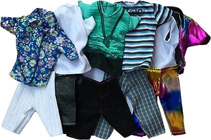 5Pcs For Doll Boy Friend Ken Casual Wear Clothes Tops Pants Outfit X-mas