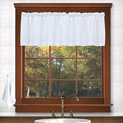 Valea Home Water Repellent Valance For Bathroom Window Waffle Woven  Textured Short Kitchen Curtain Valances(