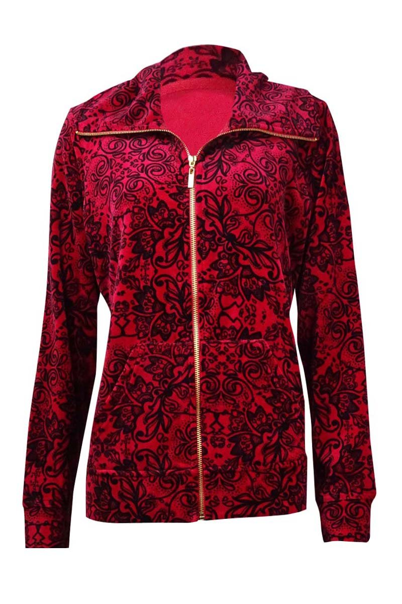Style & Co. Women's Printed Velour Zip Jacket (M, Prussian Red)
