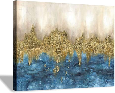 Amazon Com Abstract Print Canvas Wall Art Blue Gold Artwork Picture Small Size For Bedroom 16 X 12 X 1 Panel Posters Prints