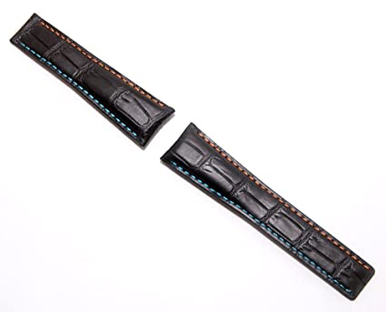7e9552f654f Watchstrapworld 22 mm Black Genuine Leather Crocodile-Style Deployment Type  Band with Orange   Light