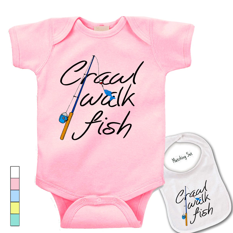 ' Crawl Walk Fish ' Cute Boutique Baby bodysuit onesie & matching bib