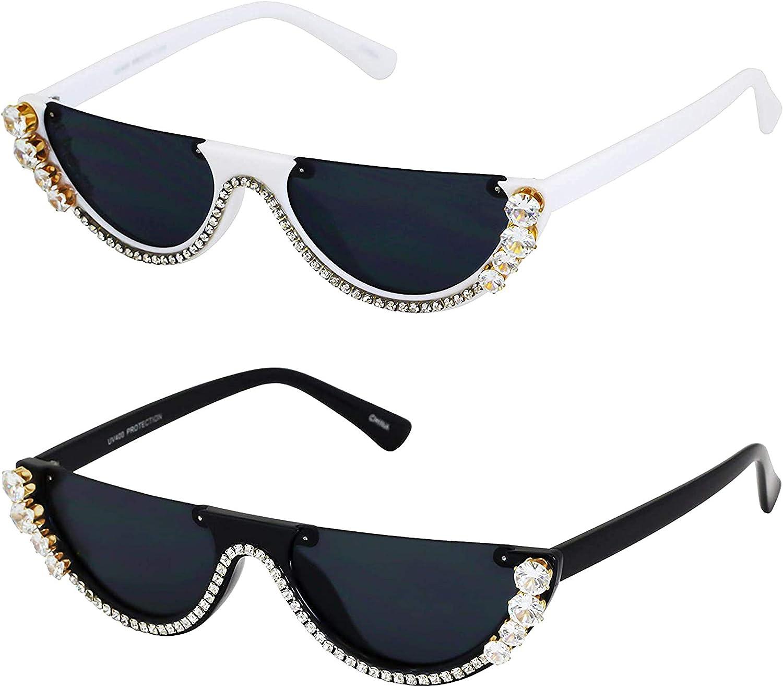 Amazon Com Flat Top Bling Sunglasses Crystal Rhinestone Shades Retro Half Rim Women Eyewear 2 Pack Black And White Clothing