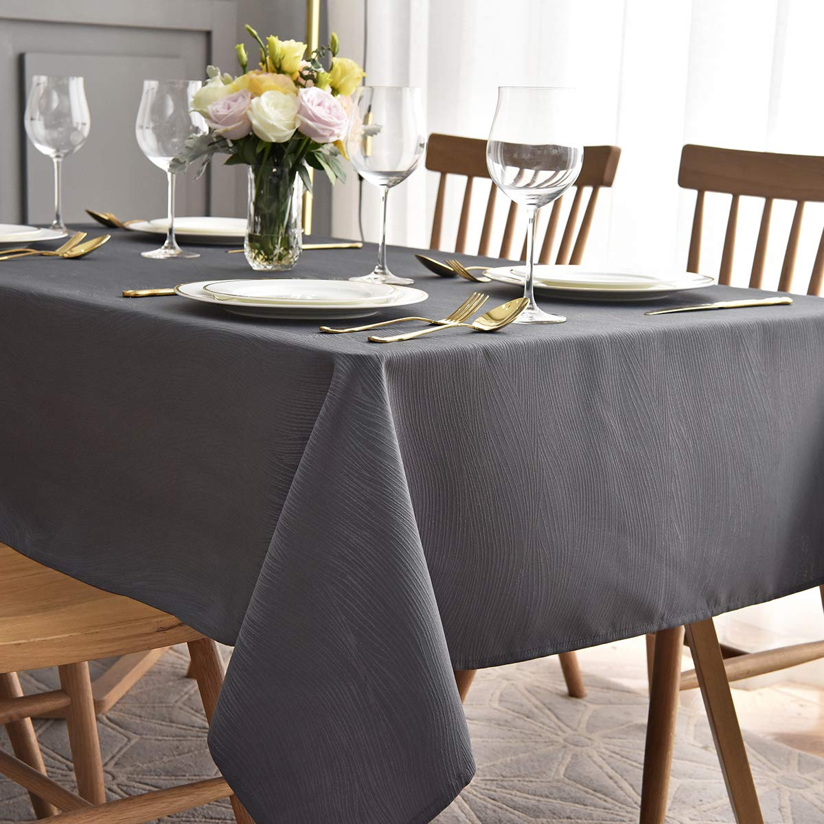 maxmill Jacquard Table Cloth Waving Pattern Water Proof Wrinkle Free Heavy Weight Soft Tablecloth Decorative Fabric Table Cover for Outdoor and Indoor Use Rectangular 60 x 104 Inch Charcoal