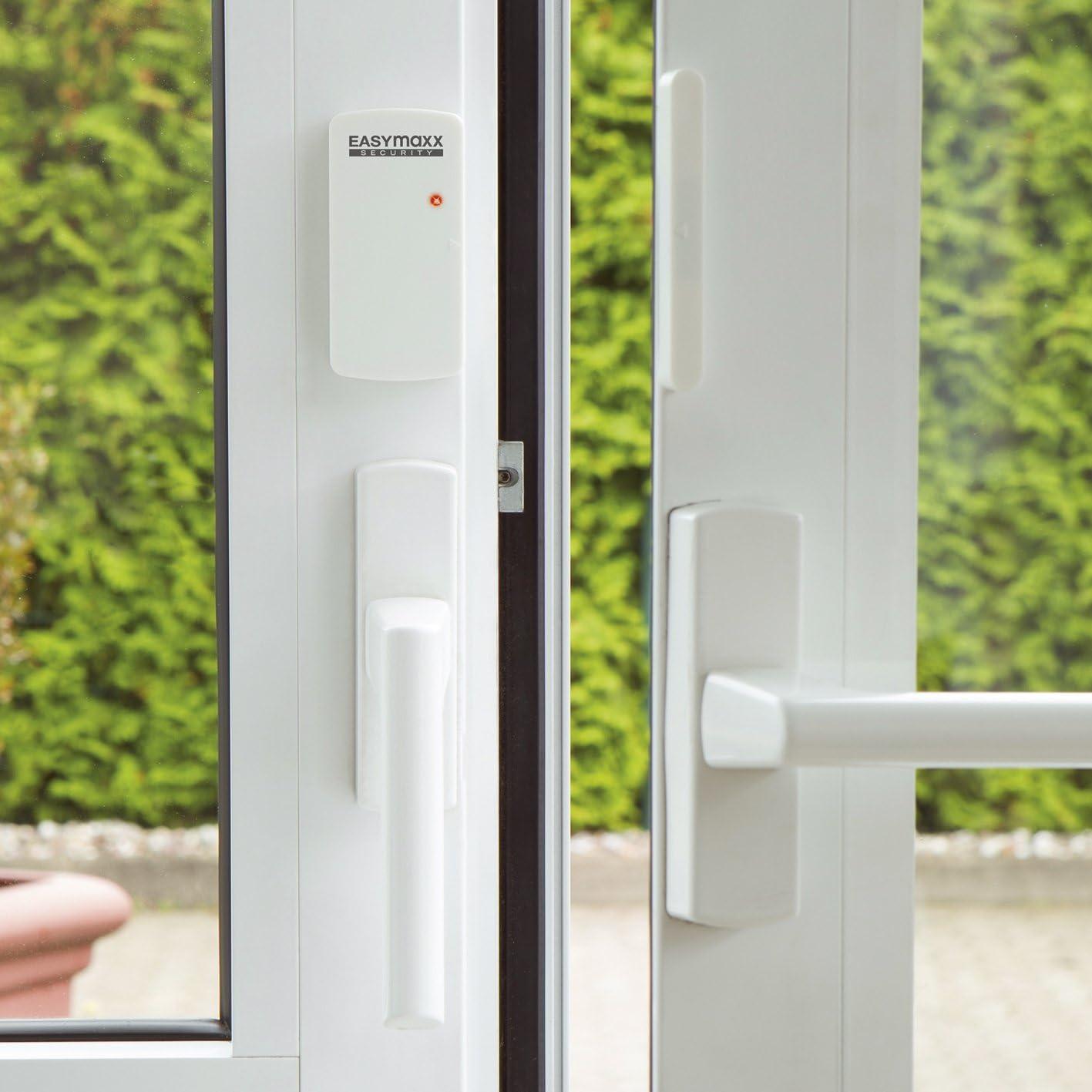 easymaxx 02481 Security - Sistema de Alarma para Puertas y Ventanas, tecnología de Sensor magnético, 110 dB, no Requiere taladrar, inalámbrico, Incluye Mando a Distancia, Color Blanco: Amazon.es: Bricolaje y herramientas