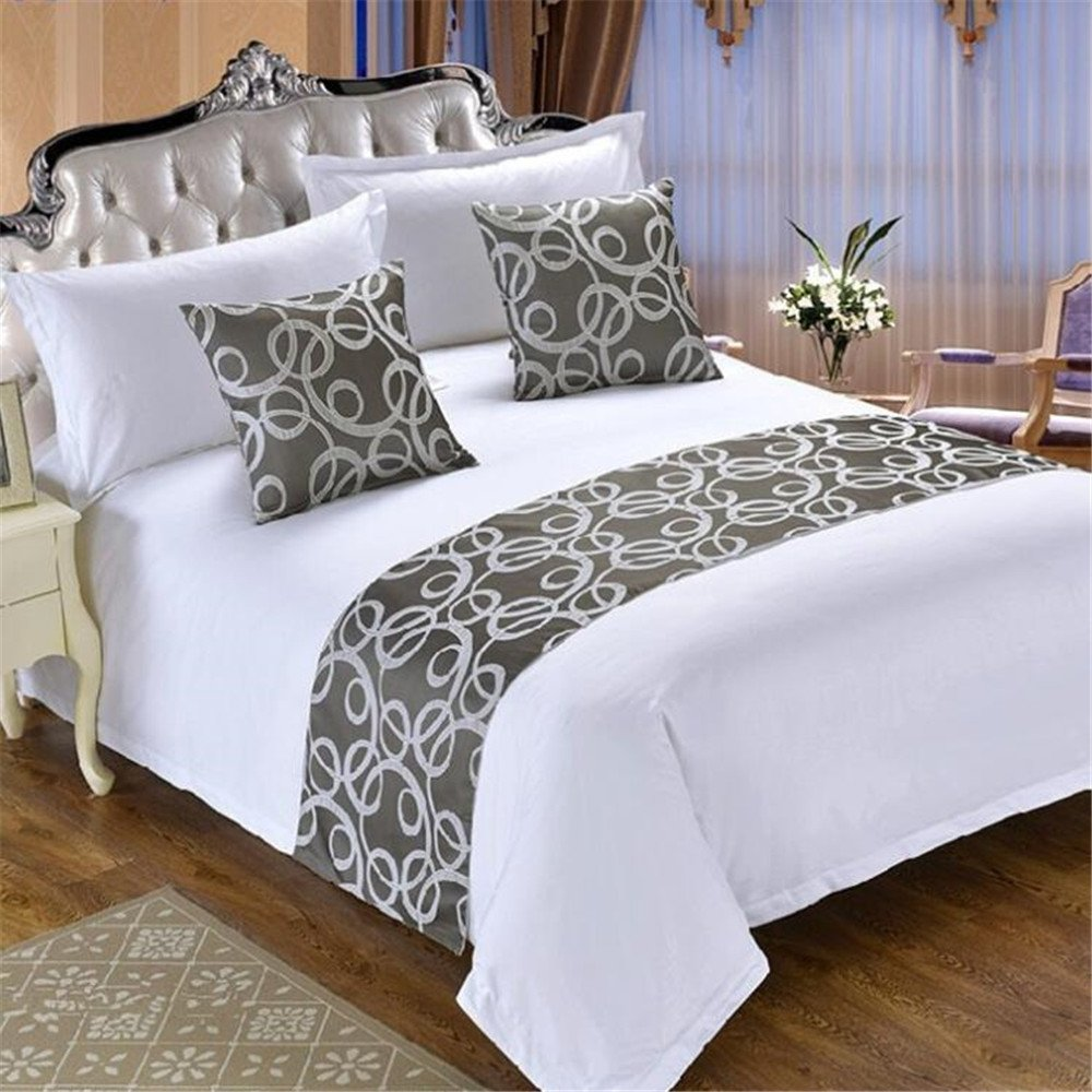 Bed Runners & Scarves,Home Hotel Decor Luxury Green Foot Bed Runner Scarf, Gray