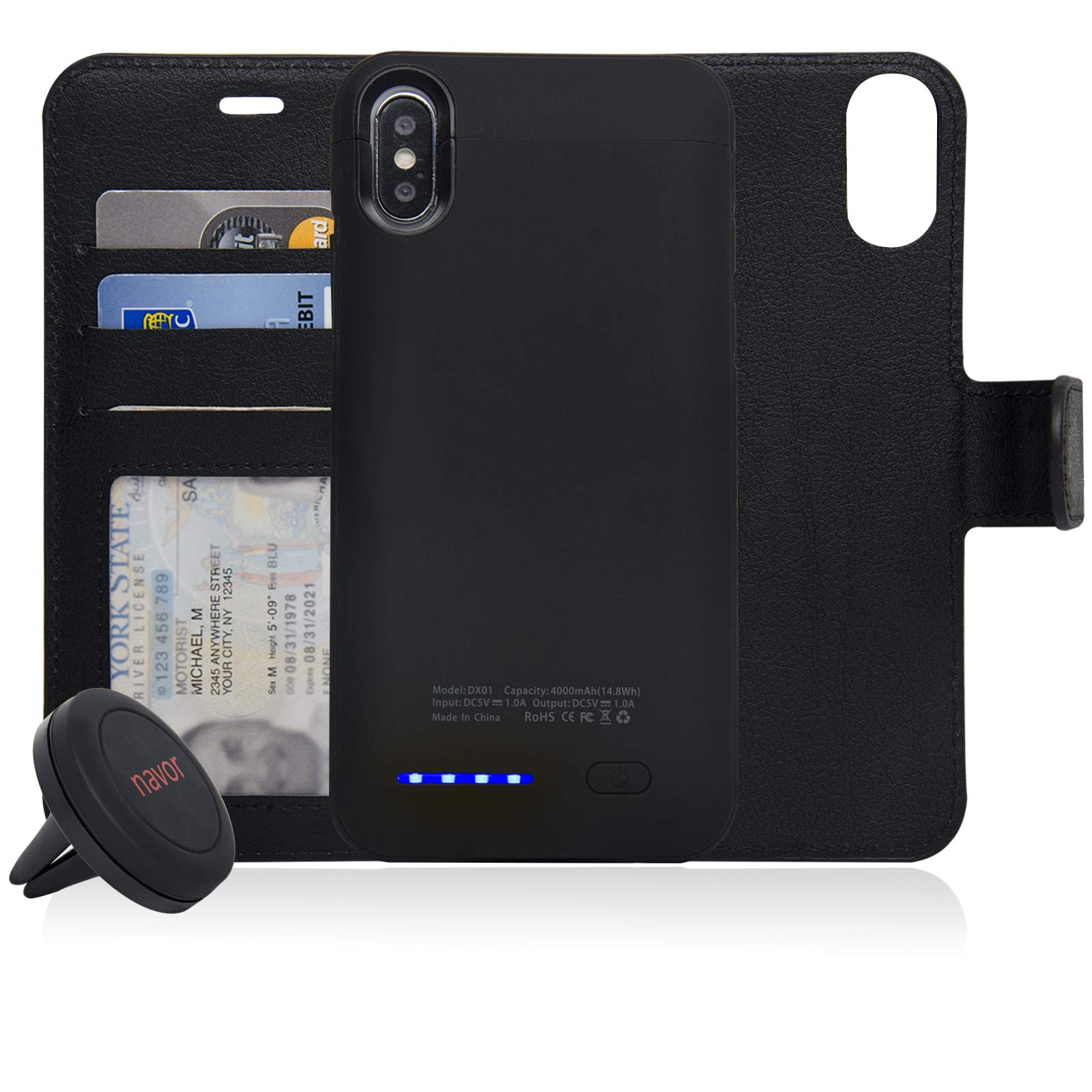 navor Universal Car Mount and RFID Folio Wallet Magnetic Detachable Power Battery Case 4000mAh Compatible for iPhone X/Xs - Black