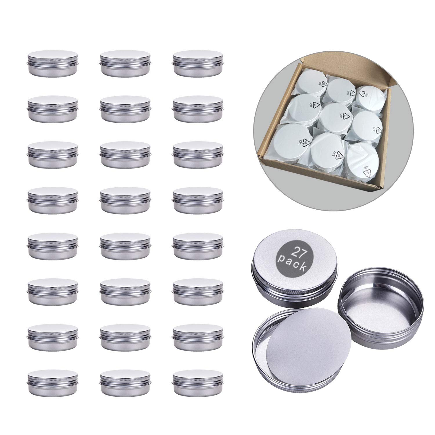 2 oz Tin Containers with Lids,Aluminum Tin for Salve, Round Metal Tin Cans Storage Food Tins with Screw Lids(27 Packs)