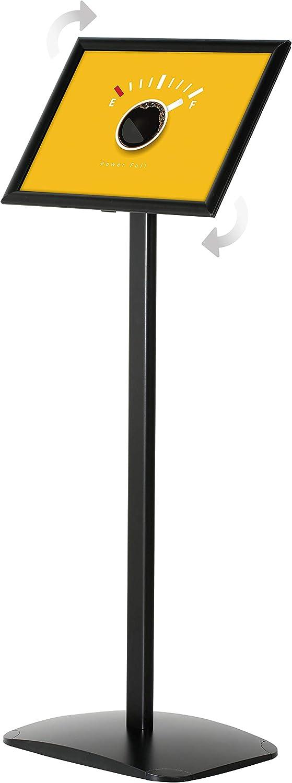 1,20 m Gesamth/öhe DISPLAY SALES Infost/änder DIN A3 f/ür PLAKATE mit 297 x 420 mm schwarz mit Rondoecken Informationsst/änder Rostfreie schwere Alu Fu/ßplatte Infohalter f/ür Hoch-//Querformat Einsatz