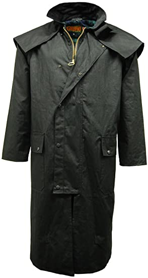 797f75ec40 Mens Game Wax Stockman Long Cape Coat   Jacket  Amazon.co.uk  Clothing