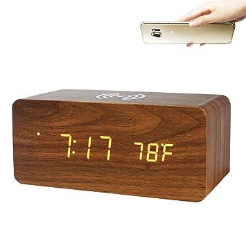 GANGHENGYU Electronic LED Reloj de Madera Digital Estación de Carga inalámbrica para teléfono móvil Reloj de Alarma multifunción para computadora de ...
